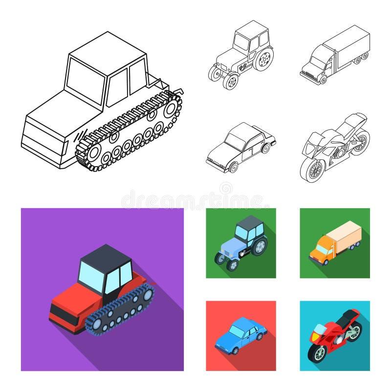 Trator, trator de lagarta, caminhão, carro Ícones ajustados da coleção do transporte no esboço, estoque liso do símbolo do vetor  ilustração royalty free