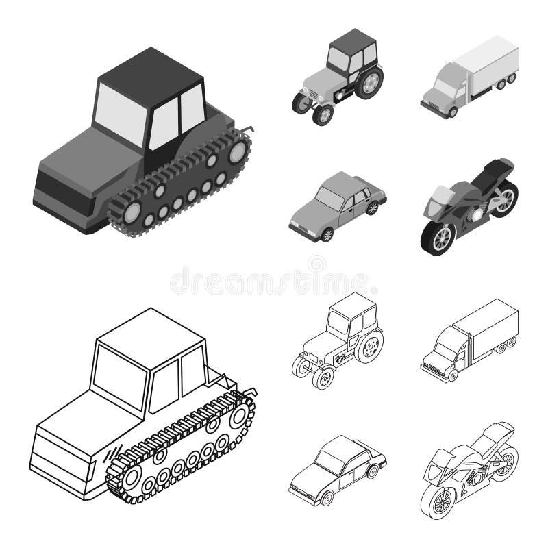 Trator, trator de lagarta, caminhão, carro Ícones ajustados da coleção do transporte no esboço, estoque monocromático do símbolo  ilustração royalty free