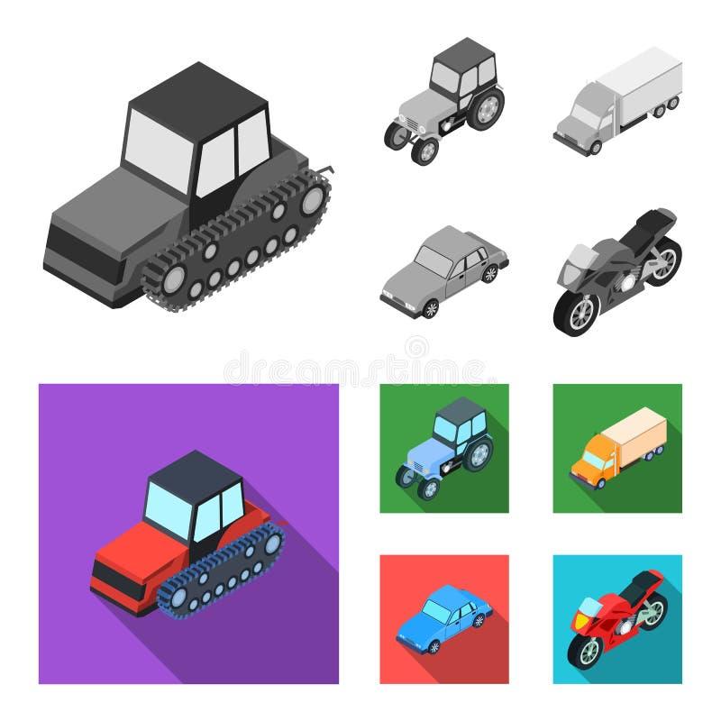 Trator, trator de lagarta, caminhão, carro Ícones ajustados da coleção do transporte no estoque monocromático, liso do símbolo do ilustração stock