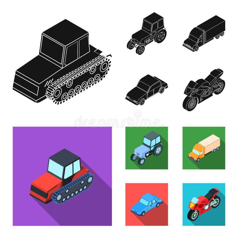 Trator, trator de lagarta, caminhão, carro Ícones ajustados da coleção do transporte no estoque preto, liso do símbolo do vetor d ilustração do vetor