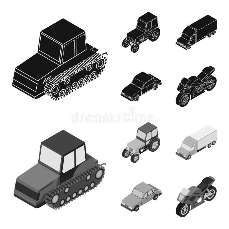 Trator, trator de lagarta, caminhão, carro Ícones ajustados da coleção do transporte no estoque preto, monocromático do símbolo d ilustração stock