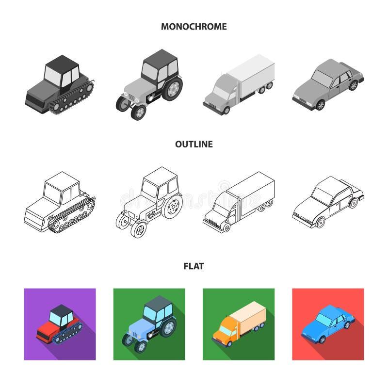 Trator, trator de lagarta, caminhão, carro Ícones ajustados da coleção do transporte no plano, esboço, símbolo monocromático do v ilustração royalty free