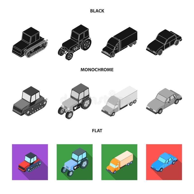Trator, trator de lagarta, caminhão, carro Ícones ajustados da coleção do transporte no símbolo preto, liso, monocromático do vet ilustração royalty free