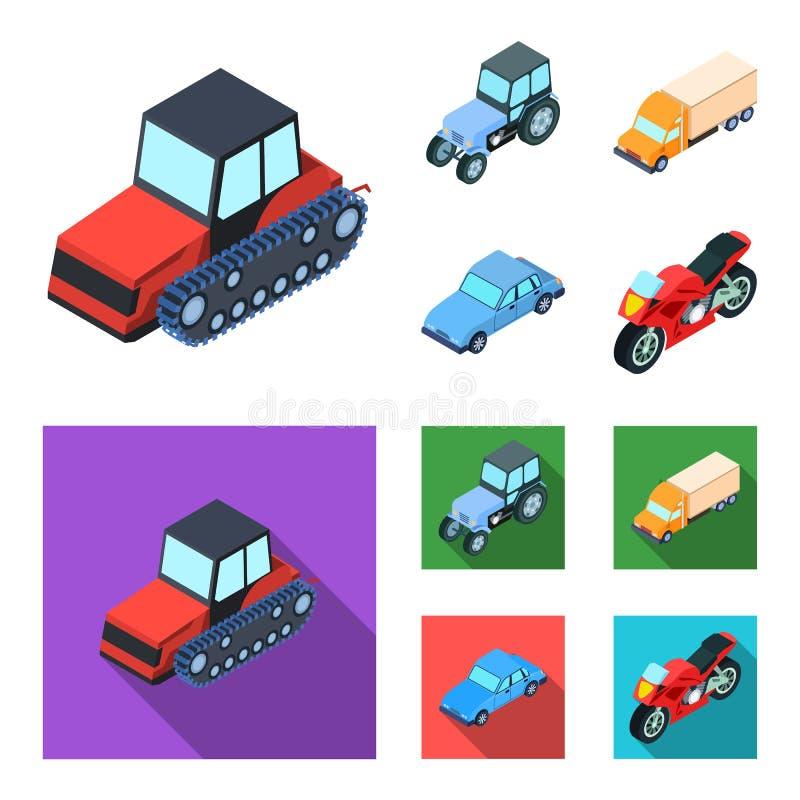 Trator, trator de lagarta, caminhão, carro Ícones ajustados da coleção do transporte nos desenhos animados, estoque liso do símbo ilustração do vetor