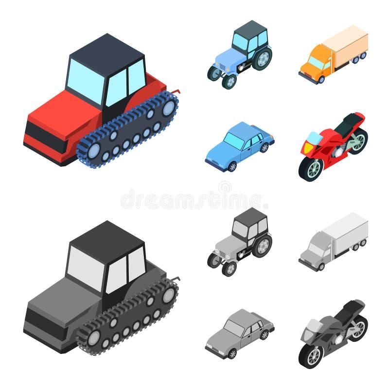 Trator, trator de lagarta, caminhão, carro Ícones ajustados da coleção do transporte nos desenhos animados, estoque monocromático ilustração stock