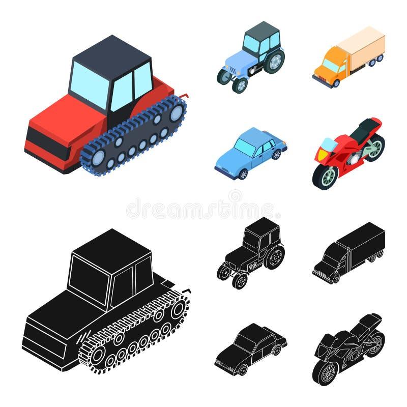 Trator, trator de lagarta, caminhão, carro Ícones ajustados da coleção do transporte nos desenhos animados, estoque preto do símb ilustração royalty free
