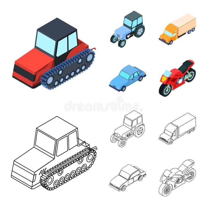 Trator, trator de lagarta, caminhão, carro Ícones ajustados da coleção do transporte nos desenhos animados, estoque do símbolo do ilustração stock