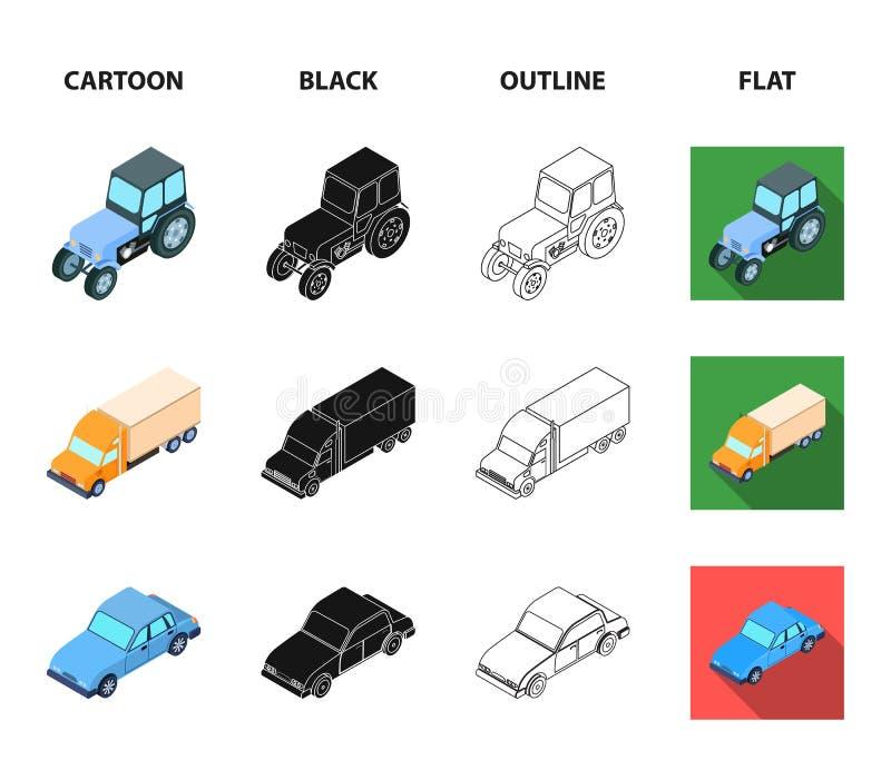Trator, trator de lagarta, caminhão, carro Ícones ajustados da coleção do transporte nos desenhos animados, preto, esboço, vetor  ilustração stock