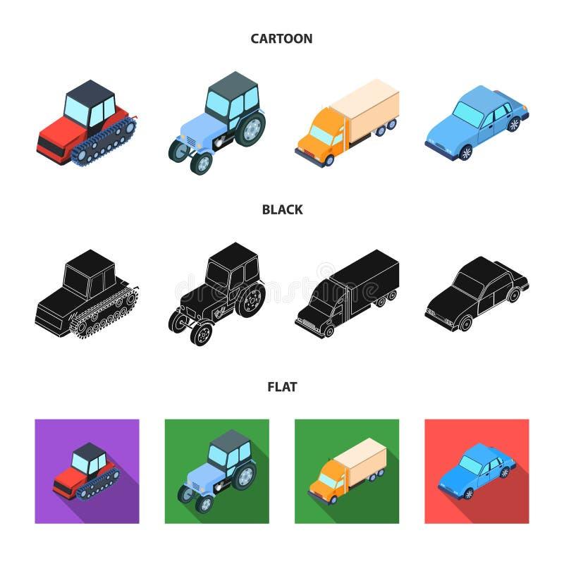 Trator, trator de lagarta, caminhão, carro Ícones ajustados da coleção do transporte nos desenhos animados, preto, estoque liso d ilustração royalty free