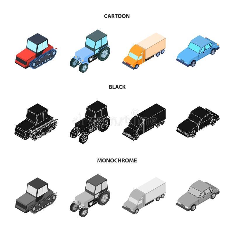 Trator, trator de lagarta, caminhão, carro Ícones ajustados da coleção do transporte nos desenhos animados, preto, símbolo monocr ilustração do vetor