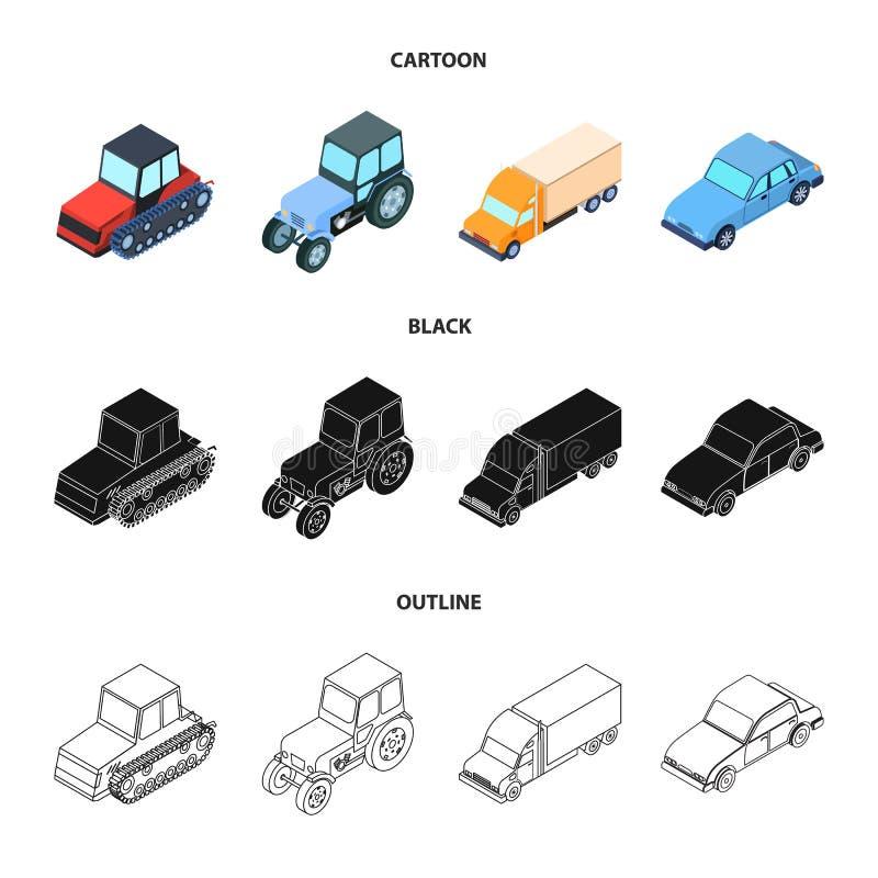 Trator, trator de lagarta, caminhão, carro Ícones ajustados da coleção do transporte nos desenhos animados, preto, símbolo do vet ilustração stock