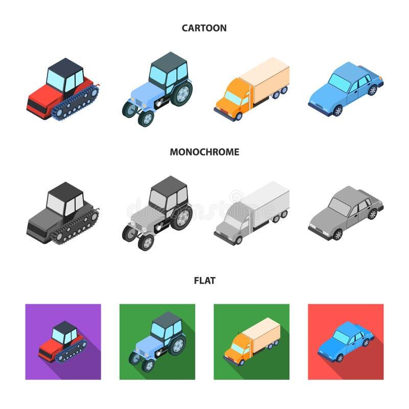 Trator, trator de lagarta, caminhão, carro Ícones ajustados da coleção do transporte nos desenhos animados, símbolo liso, monocro ilustração do vetor