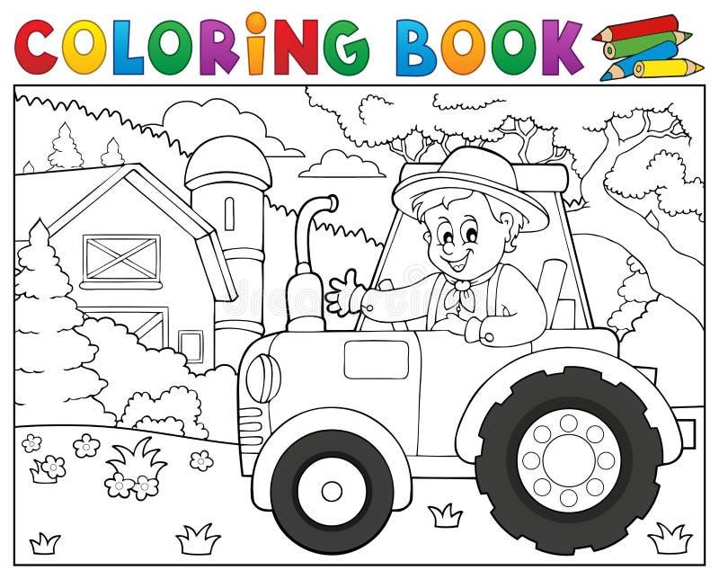 Trator do livro para colorir perto do tema 1 da exploração agrícola ilustração stock