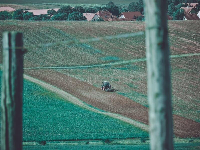 Trator na colheita imagens de stock