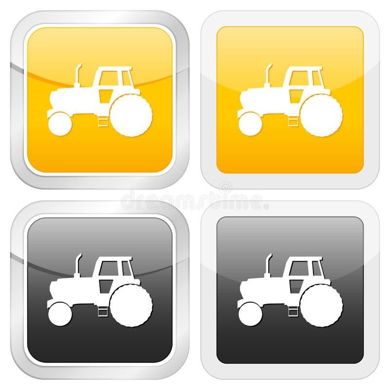 Trator quadrado do ícone ilustração royalty free
