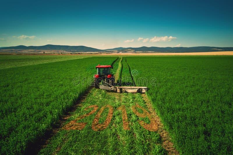 Trator que sega o campo verde, vista aérea conceito 2019 imagens de stock royalty free