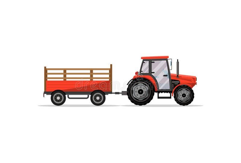 Trator rodado pesado com ícone do reboque ilustração do vetor