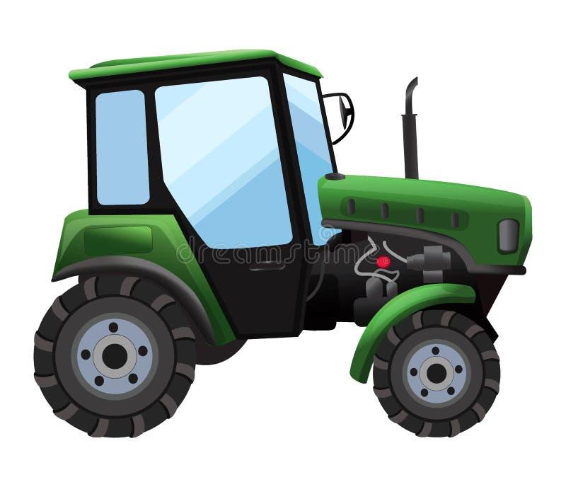 trator Vector a ilustração do trator verde em um estilo liso no fundo branco Maquinaria agrícola pesada ilustração do vetor