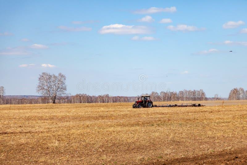 Trator vermelho com um arado arrastado para segar e remover ervas daninhas de campos para a agroind?stria da cor amarela sob o c? fotos de stock