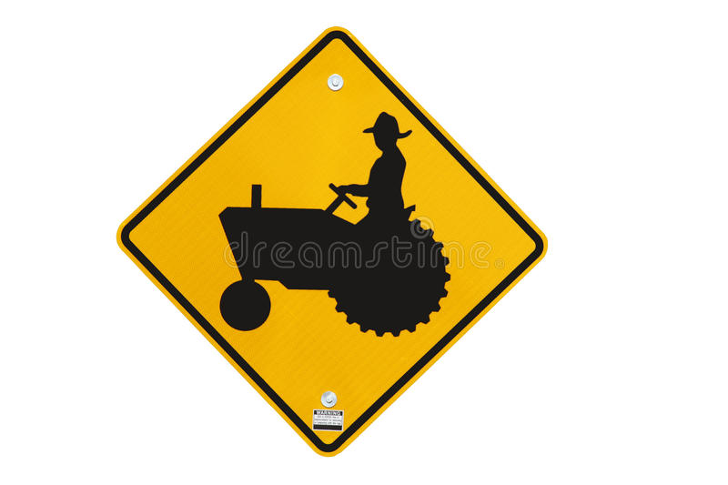 Trator warning sign isolated. Highway traffic tractor warning sign isolated over a white background royalty free stock image