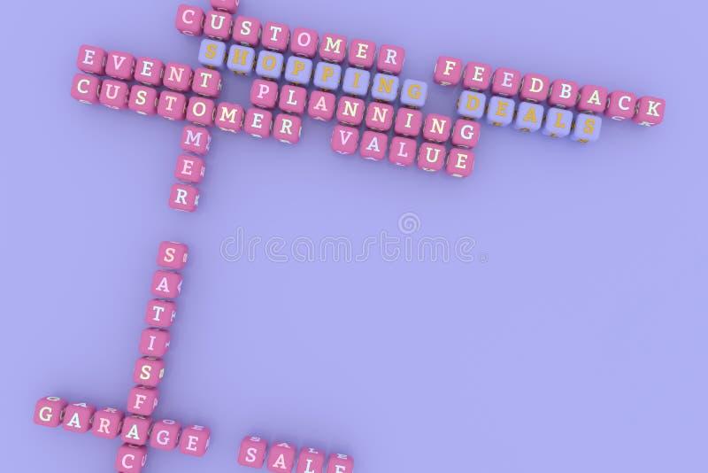Tratos de las compras, crucigrama de comercialización de la palabra clave Para la p?gina web, el dise?o gr?fico, la textura o el  ilustración del vector