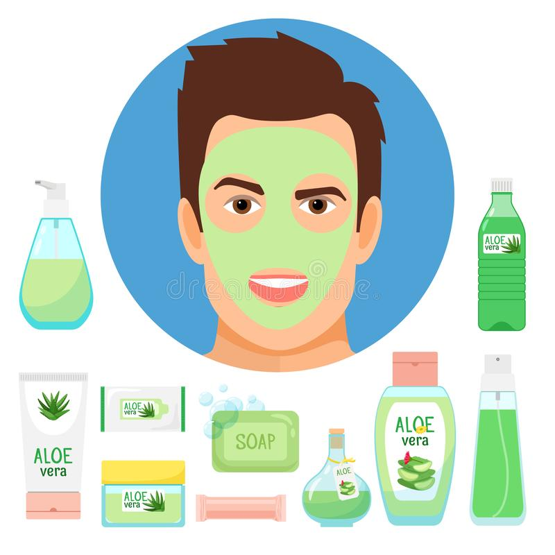 Trattamenti maschii di bellezza con i cosmetici organici di vera dell'aloe illustrazione vettoriale