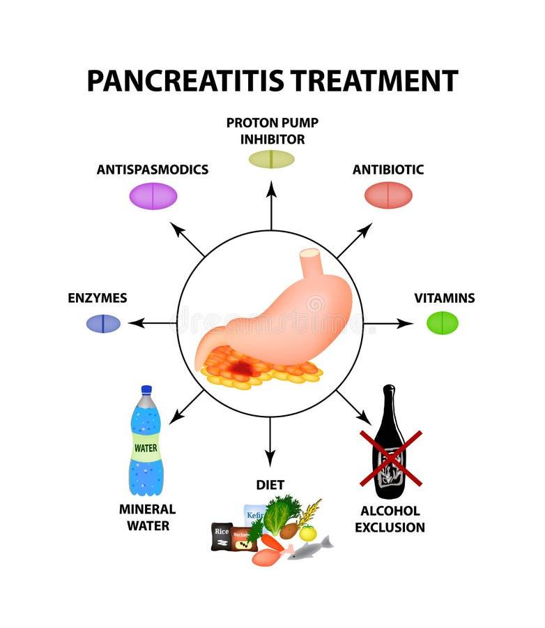Trattamento della pancreatite La struttura dello stomaco e del pancreas Infographics Illustrazione di vettore sull'isolato su illustrazione di stock