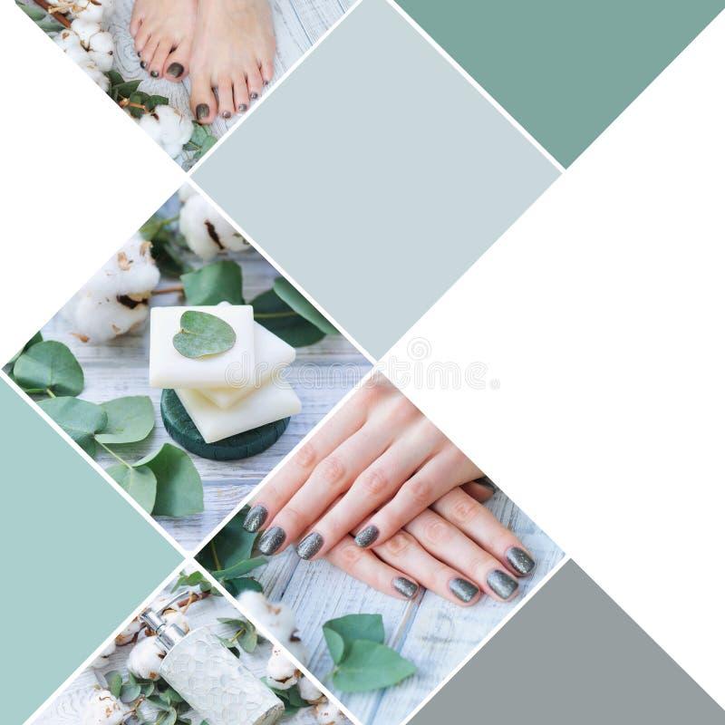 Trattamento di bellezza per le unghie del dito e del dito del piede della donna fotografia stock libera da diritti