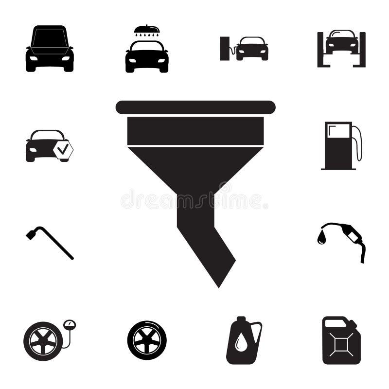 Trattfiltersymbol Uppsättning av bilreparationssymboler Tecken översiktsecosamling, enkla symboler för websites, rengöringsdukdes vektor illustrationer