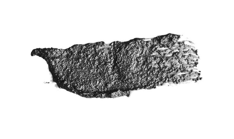 Tratto di pennello bianco e nero acrilico astratto Isolato su bianco immagini stock libere da diritti