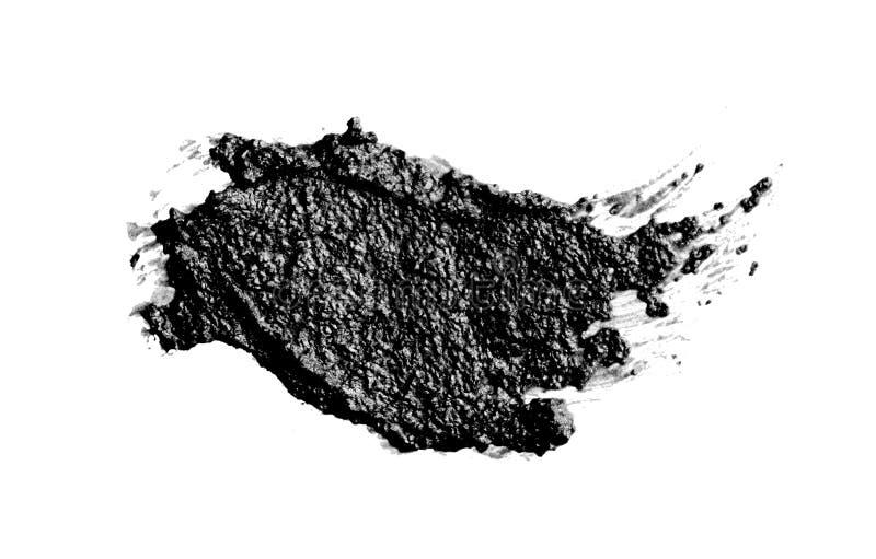 Tratto di pennello bianco e nero acrilico astratto Isolato su bianco fotografia stock