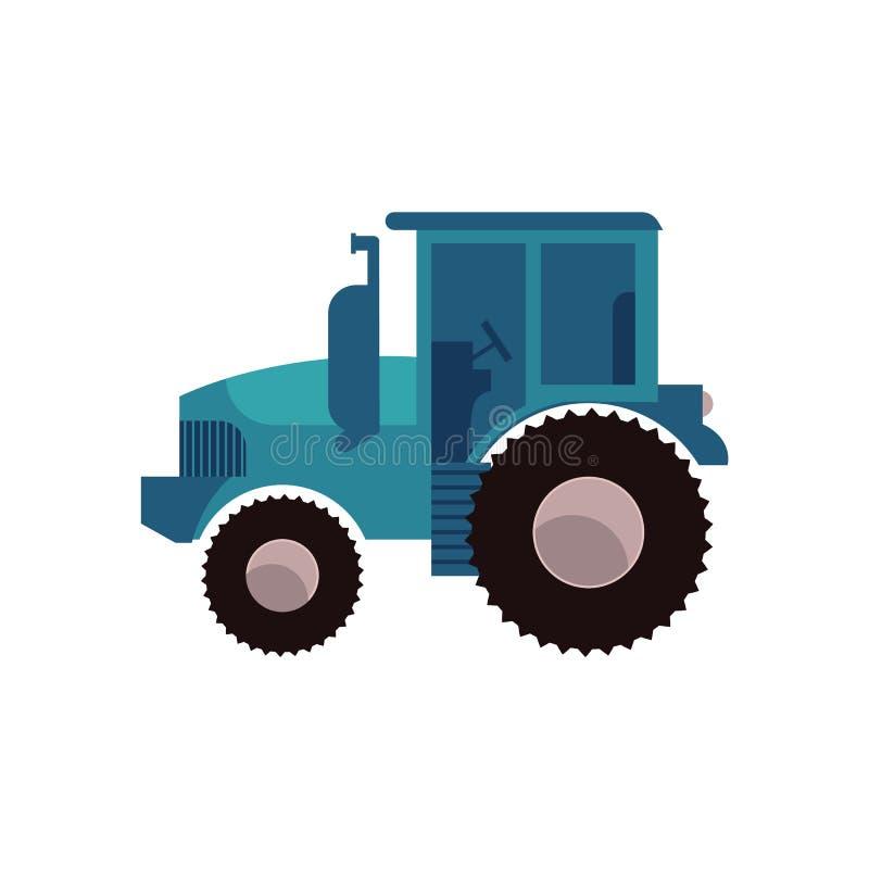 Trattore agricolo blu per lavoro sulla piantagione isolata su fondo bianco illustrazione vettoriale