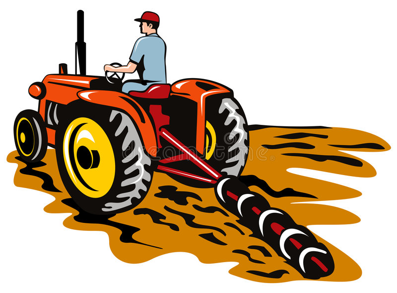 Trattore che ara l'azienda agricola illustrazione vettoriale