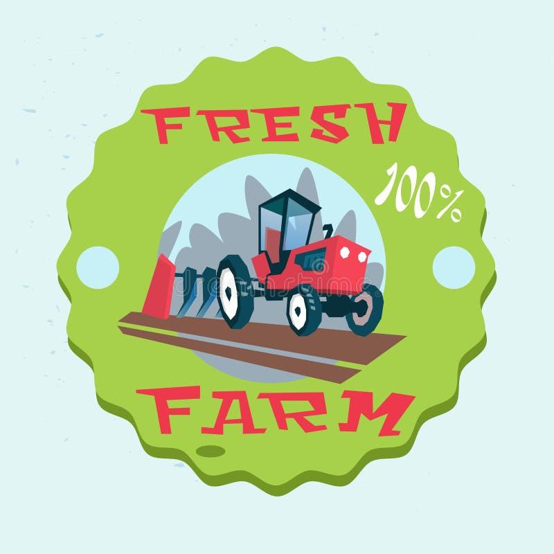 Trattore che ara logo fresco dell'azienda agricola di Eco del campo illustrazione vettoriale