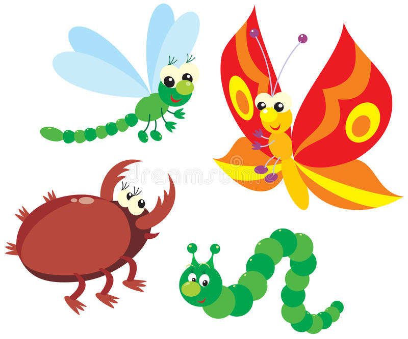 Trattore a cingoli, farfalla, libellula e scarabeo illustrazione di stock