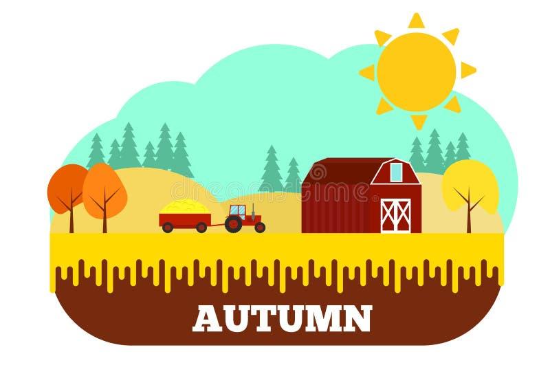 Trattore con il raccolto all'azienda agricola in Autumn Flat Design royalty illustrazione gratis