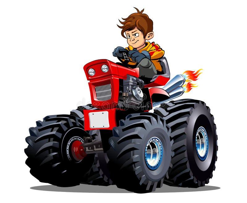 Trattore del fumetto di vettore isolato su fondo bianco illustrazione di stock