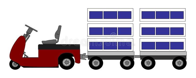 Trattore di rimorchio con le caselle illustrazione di stock