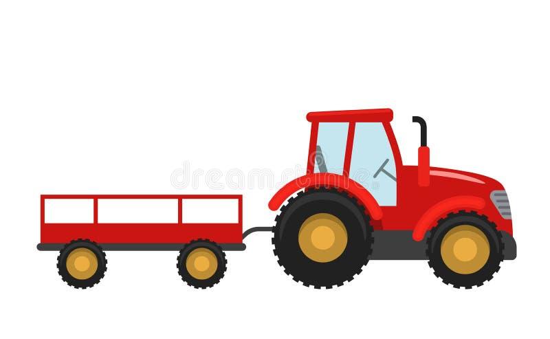 Trattore rosso con il rimorchio Vector l'illustrazione nello stile piano isolata su fondo bianco illustrazione di stock