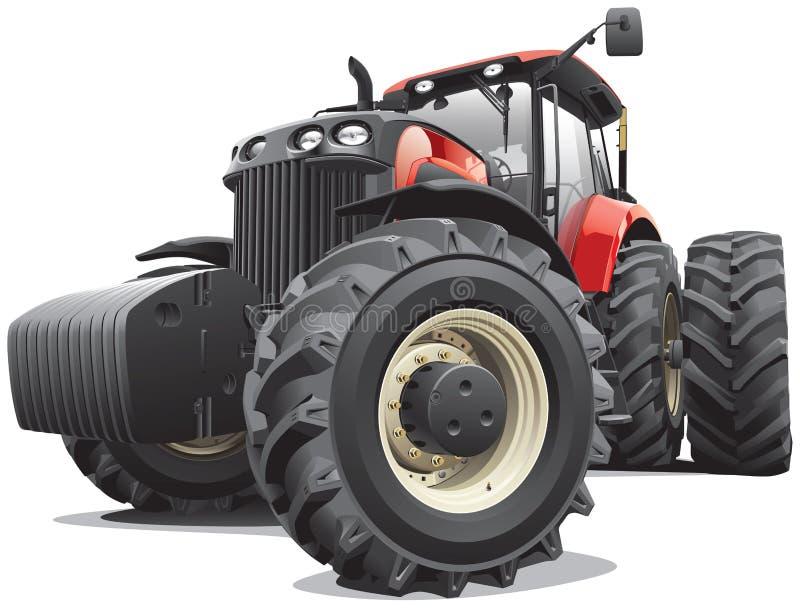 Trattore rosso con le grandi ruote illustrazione di stock