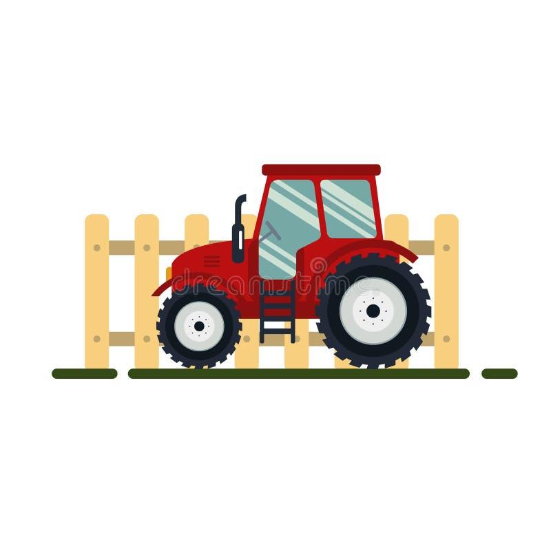 Trattore rosso piano con il recinto su fondo bianco - vector l'illustrazione Trasporto agricolo per l'azienda agricola Agricoltur illustrazione di stock