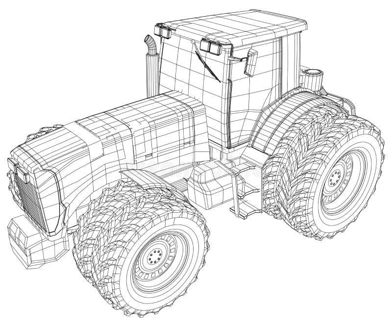 Trattore a ruote vettore isolato su fondo bianco Vista laterale Illustrazione di rintracciamento di 3d Formato di vettore di ENV  illustrazione di stock