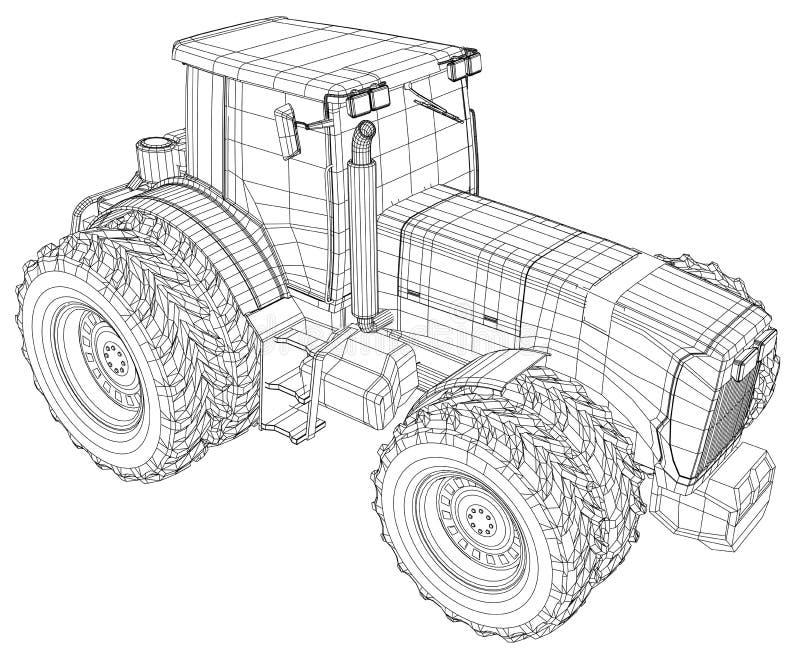 Trattore a ruote vettore isolato su fondo bianco Vista laterale Illustrazione di rintracciamento di 3d Formato di vettore di ENV  royalty illustrazione gratis