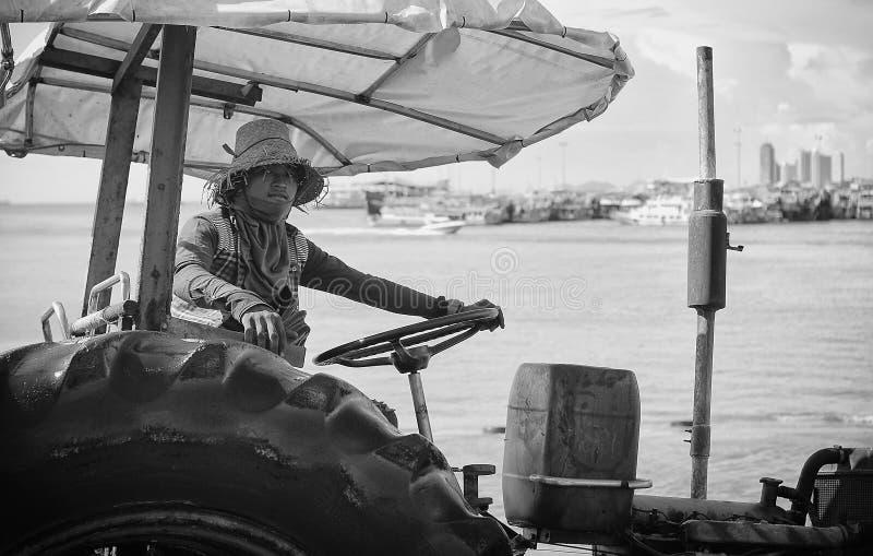 Trattori Tailandia del cantiere nautico fotografie stock