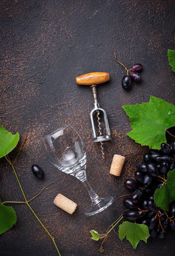 Traube und Weinlesekorkenzieher stockfoto