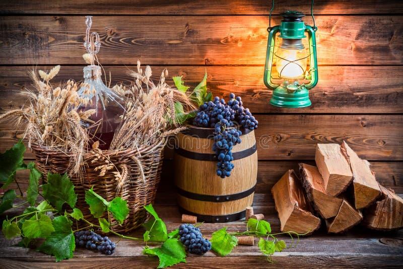 Trauben und Rotwein in einer Korbflasche lizenzfreies stockbild
