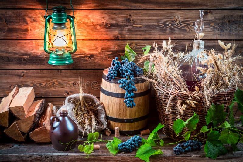 Trauben und Rotwein in einer Korbflasche lizenzfreies stockfoto