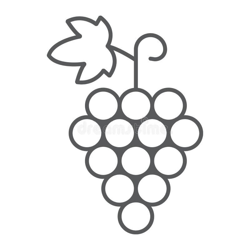Trauben verdünnen Linie Ikone, Frucht und Vitamin vektor abbildung