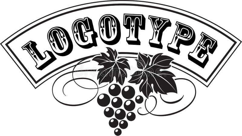 Traubenbündel mit Blättern als Weinlogo-Entwurfsschablone vektor abbildung