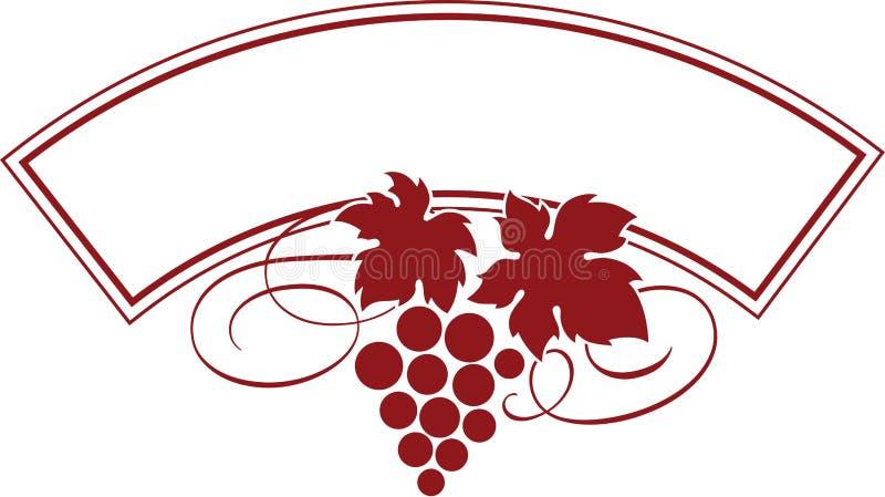 Traubenb?ndel mit Bl?ttern als Weinlogo-Entwurfsschablone lizenzfreie abbildung